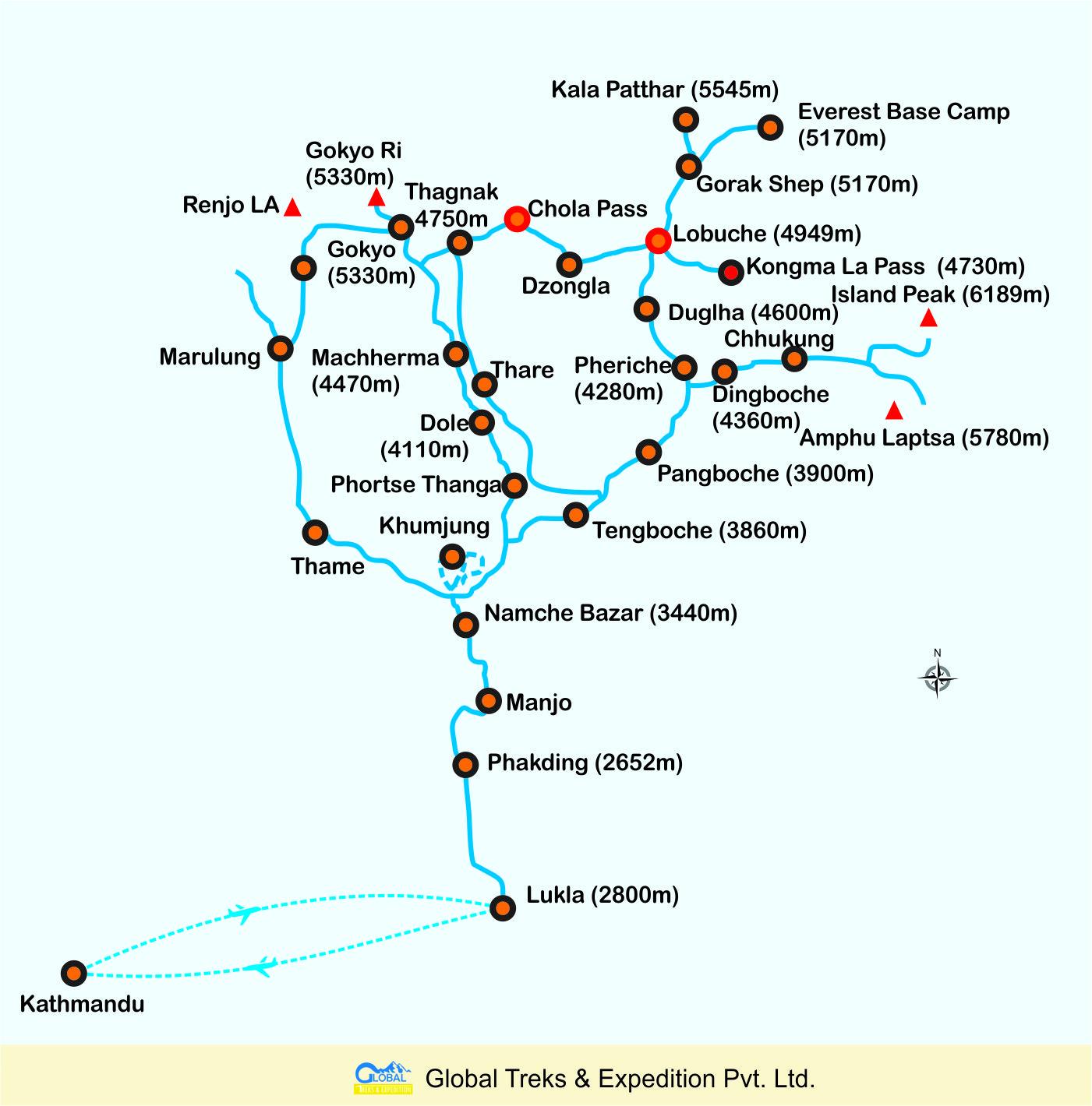Map of Everest Base Camp Three Passes Trek